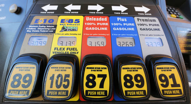 Stillwater-based OnCue Express sells a variety of gasoline blends, including the recently approved 15-percent ethanol blend known as E15. That blend, which is not included in this photo, is sold at only at a separate terminal labeled for flex-fuel vehicles only. Photo By Steve Gooch, The Oklahoman <strong>Steve Gooch</strong>