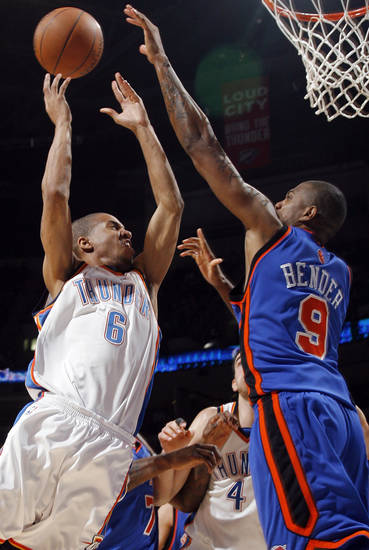 Eric Maynor (6) of Oklahoma City tries to get a shot past Jonathan Bender (9) of New York during the NBA basketball game between the Oklahoma City Thunder and the New York Knicks at the Ford Center in Oklahoma City, Monday, January 11, 2010. Oklahoma City won, 106-88. Photo by Nate Billings, The Oklahoman