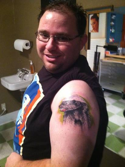 Bryan Dean and his honey badger tattoo