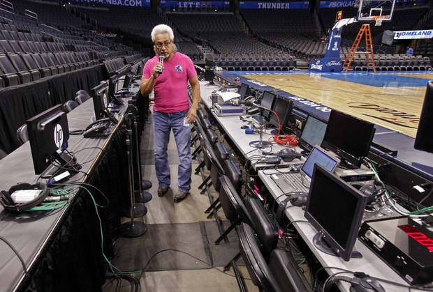 Nick Rivera, stage manager, tests the sound system at 8:00 a.m. in preparation for the first game of the NBA basketball finals at the Chesapeake Arena on Tuesday, June 12, 2012 in Oklahoma City, Okla.  Photo by Steve Sisney, The Oklahoman
