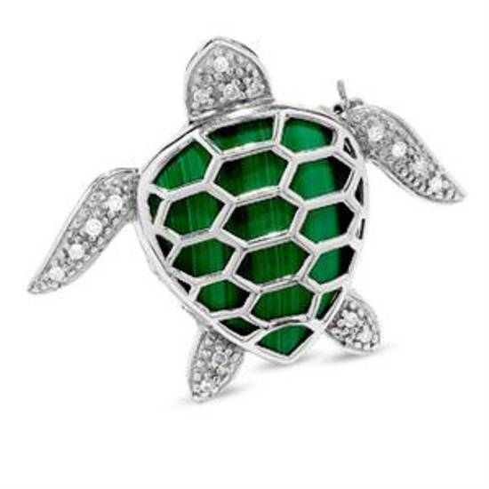 Malachite Turtle Brooch in Sterling Silver with Diamond Accents, $99, online only.