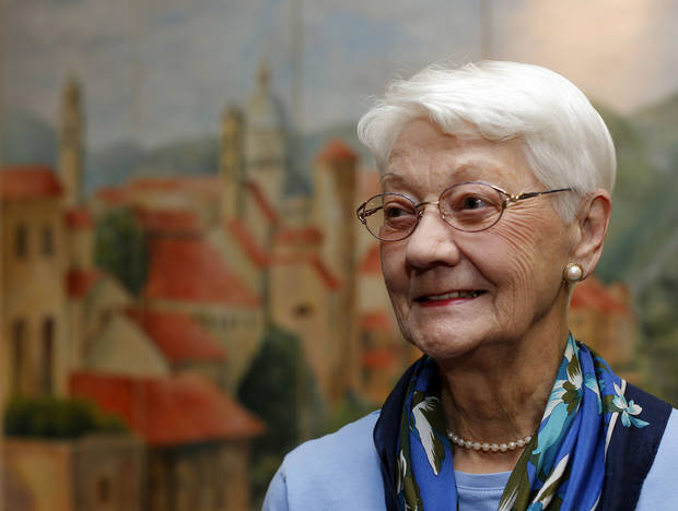 Georganna Oberst poses for a photo at  St. Ann's Retirement Center in Oklahoma City. <strong>SARAH PHIPPS - THE OKLAHOMAN</strong>