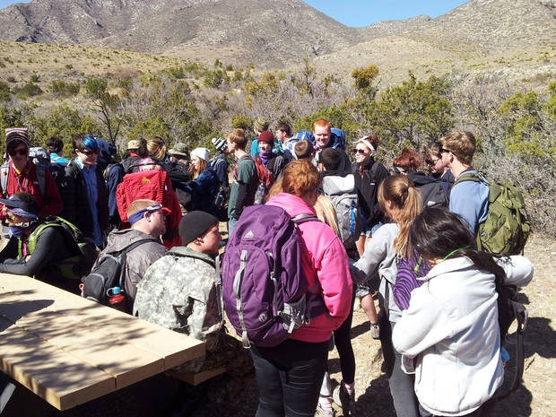 Above and below: Teenagers from Oklahoma City and Houston take part in a retreat in March to the Guadalupe Mountains in West Texas. PHOTOS PROVIDED