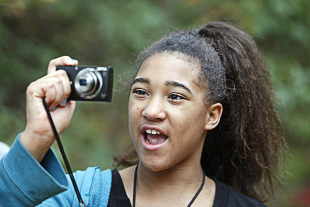 Katyra, 10, takes photos during an outing with The Boys and Girls Club&#039;s new program called &quot;Parks in Focus&quot; at the Stinchcomb Wildlife Refuge, Oct. 23, 2012. Photo By David McDaniel/The Oklahoman &lt;strong&gt;David McDaniel - The Oklahoman&lt;/strong&gt;