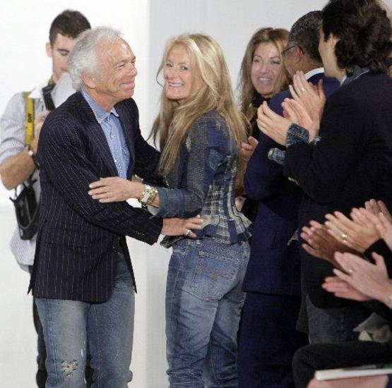Ralph Lauren hugs his wife Ricky after one of his runway shows in New York. AP PHOTO