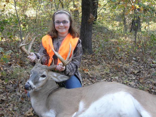 Mallory King, 10, of Broken Arrow bagged this 9-point buck in Noble County during last weekend's youth deer gun season. She was hunting with her grandmother, Paula King of Morrison.