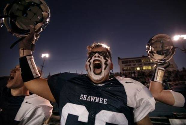 Shawnee's Dakota Blanchard cheers before the start of the high school football game between Shawnee and Carl Albert Friday, 0ct. 2, 2009, at the Jim Thorpe Stadium in Shawnee, Okla. Photo by Sarah Phipps, The Oklahoman