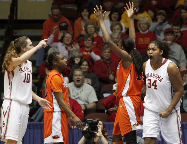 Abi Olajuwon, right, has had a successful senior season after playing behind the Paris twins for her first three seasons. PHOTO BY BRYAN TERRY, THE OKLAHOMAN