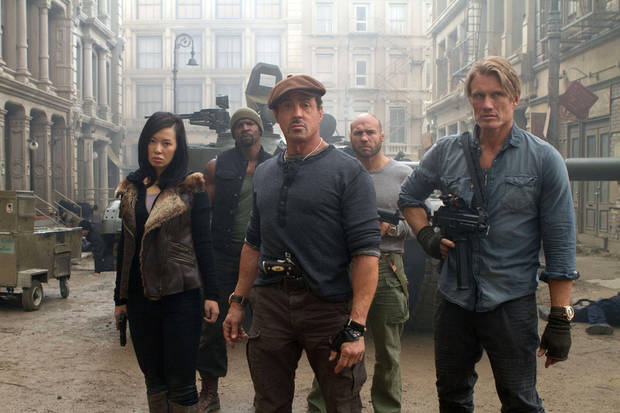 From left, Yu Nan, Terry Crews, Sylvester Stallone, Randy Couture and Dolph Lundgren are shown in a scene from �The Expendables 2.� LIONSGATE PHOTO