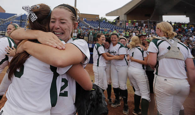 Tushka's Stormie Siron (8) and Kayla Wilhite (12) celebrate the win over Dale in the Class 4A Oklahoma State High School Slow Pitch Softball Championship at ASA Hall of Fame Stadium in Oklahoma City, Wednesday, May 1, 2013. Photo by Chris Landsberger, The Oklahoman