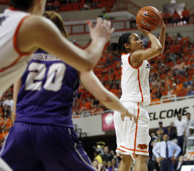 OSU's Tiffany Bias (3) takes a shot during the Women's NIT championship college basketball game between Oklahoma State University and James Madison at Gallagher-Iba Arena in Stillwater, Okla., Saturday, March 31, 2012. OSU won, 75-68. Photo by Nate Billings, The Oklahoman