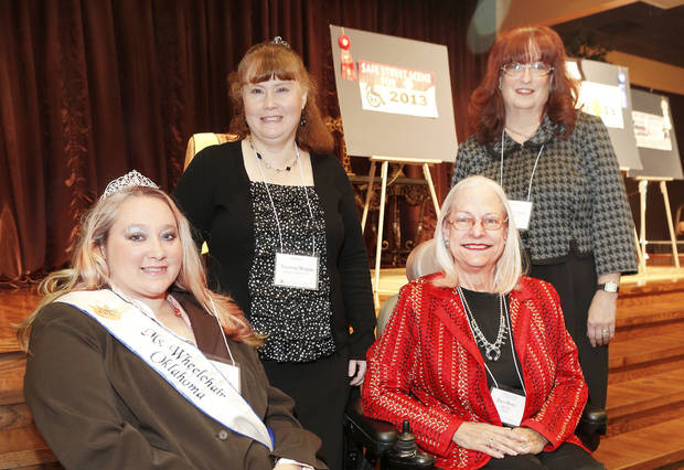 left to right, Jesa Lopez, Ms. Wheelchair Oklahoma, Shannon Wrights, Pam Henry and Candace Looper pose for a photo at the Mayors Committee on Disability Concerns awards ceremony in Oklahoma City, Tuesday October 30, 2012. Photo By Steve Gooch, The Oklahoman