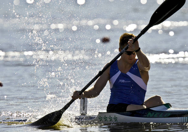A competitor races in the men's open 200m kayak race during the Oklahoma Regatta Festival at the Oklahoma River on Saturday, Oct. 1, 2011, in Oklahoma City, Okla. Photo by Chris Landsberger, The Oklahoman