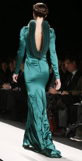 An outfit from Carolina Herrera's fall 2013 runway collection in New York. AP PHOTO