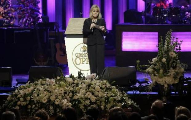 Barbara Mandrell speaks during the funeral for country music star George Jones in the Grand Ole Opry House on Thursday, May 2, 2013, in Nashville, Tenn. Jones, one of country music's biggest stars who had No. 1 hits in four separate decades, died April 26. (AP)