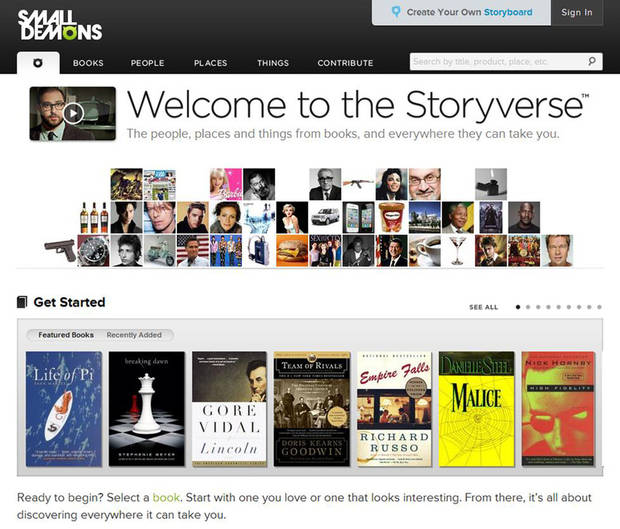 This computer image released by SmallDemons.com shows the home page of Small Demons, an encyclopedia and �Storyverse� that catalogues names, places, songs, products and other categories for thousands of books. (AP Photo/SmallDemons.com)