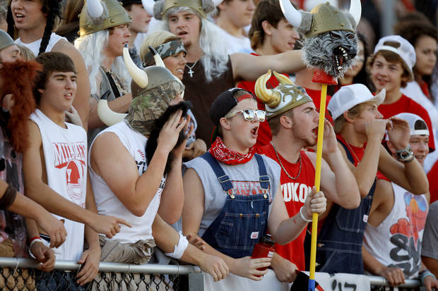 Yukon fans cheer during a high school football game against Edmond Santa Fe in Yukon, Okla., Friday, Sept. 9, 2011. Photo by Bryan Terry, The Oklahoman