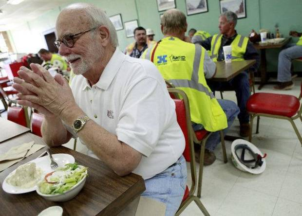 Don Zachritz, who says he's eaten at the Lunch Box for about 25 years, talks with a friend during lunch at the Lunch Box in Oklahoma City on Tuesday, Oct. 25, 2011. Photo by John Clanton, The Oklahoman ORG XMIT: KOD