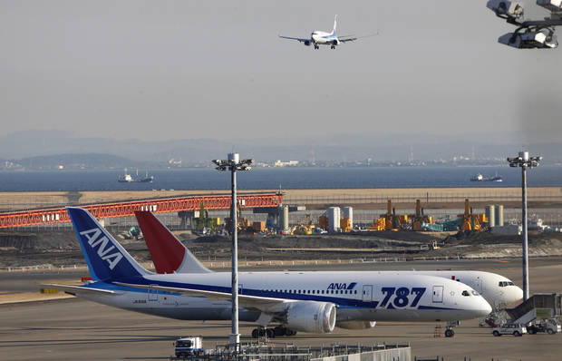 An All Nippon Airways' Boeing 787 Dreamliner sits on the tarmac at Haneda Airport in Tokyo, Wednesday, Jan. 30, 2013. U.S. regulators said Wednesday they asked Boeing Co. to provide a full operating history of lithium-ion batteries used in its grounded 787 Dreamliners after Japan's All Nippon Airways revealed it had repeatedly replaced the batteries even before overheating problems surfaced. (AP Photo/Shizuo Kambayashi)