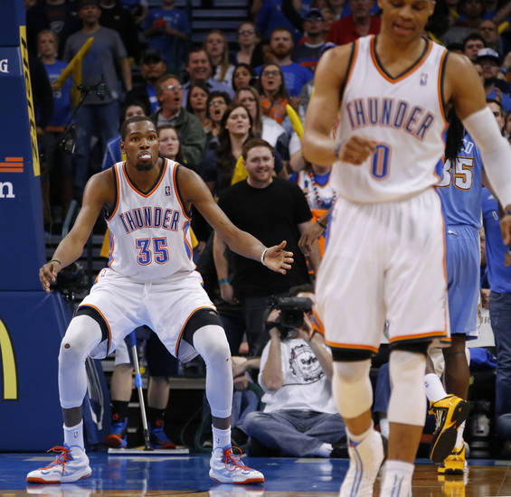 Oklahoma City's Kevin Durant (35) reacts during an NBA basketball game between the Oklahoma City Thunder and the Denver Nuggets at Chesapeake Energy Arena in Oklahoma City, Tuesday, March 19, 2013. Denver won 114-104.. Photo by Bryan Terry, The Oklahoman