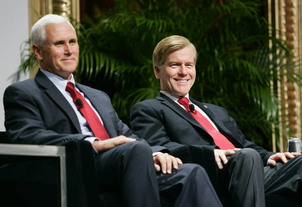 Indiana Governor-Elect Mike Pence, left, and Republican Governors Association Chairman and Virginia Gov. Bob McDonnell wait for the start of a panel discussion during the 2012 RGA Annual Conference at Encore hotel-casino Thursday, Nov. 15, 2012, in Las Vegas. (AP Photo/Ronda Churchill)