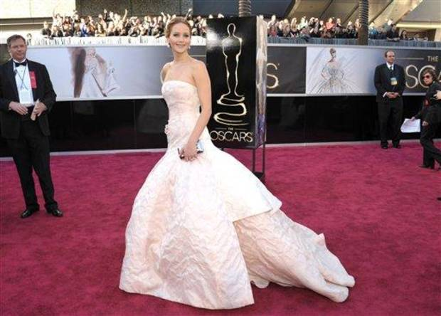 Actress Jennifer Lawrence arrives at the 85th Academy Awards at the Dolby Theatre on Sunday Feb. 24, 2013, in Los Angeles. (Photo by John Shearer/Invision/AP)