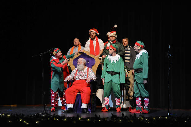 Above: OK Chorale members perform a sketch with Santa during the group�s Christmas show Saturday at Putnam City West High School.