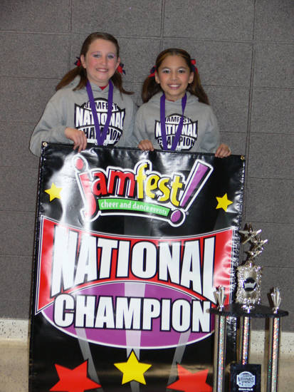 Kaitlin and Taylor.National cheer champions at Jamfest. Held at cox center 2006. Spirit of Oklahoma, MWC<br/><b>Community Photo By:</b> Jeff Graybill<br/><b>Submitted By:</b> Jeff, Midwest city