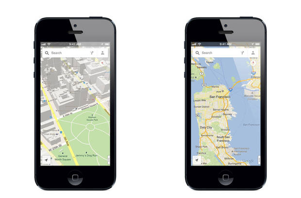This image made available by google, shows the new Google Maps application, on Thursday, Dec. 13, 2012. The world's most popular online mapping system returned late Wednesday with the release of the Google Maps iPhone app. The release comes nearly three months after Apple Inc. replaced Google Maps as the device's built-in navigation system and inserted its own map software into the latest version of its mobile operating system. (AP Photo/Google)