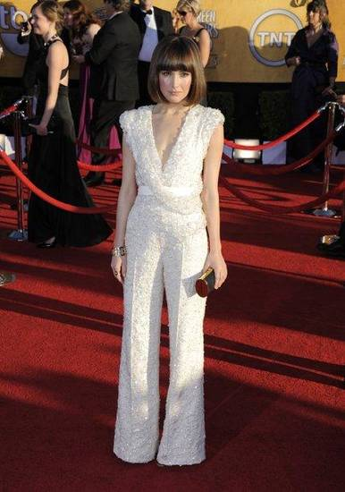Rose Byrne in an Elie Saab sequin jumpsuit arrives at the Screen Actors Guild Awards.