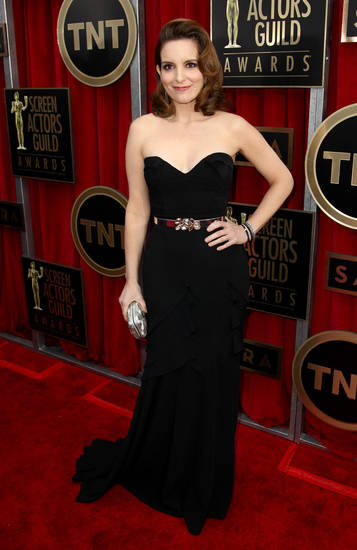 Actress Tina Fey arrives at the 19th Annual Screen Actors Guild Awards at the Shrine Auditorium in Los Angeles on Sunday, Jan. 27, 2013. (Photo by Matt Sayles/Invision/AP)