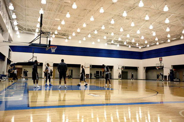 The Thunder shoot free throws during Oklahoma City Thunder's practice at their new facility in Oklahoma City, Friday, Dec. 9, 2011. Photo by Sarah Phipps, The Oklahoman
