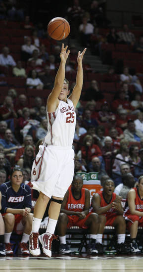 OU's Whitney Hand shoots a 3-pointer during a 2009 game vs. Rogers State in Norman. PHOTO BY SARAH PHIPPS, The Oklahoman Archives