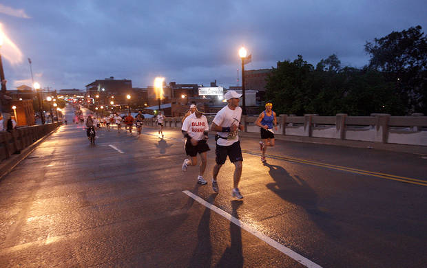 runs in the 8th annual Oklahoma City Memorial Marathon on Sunday, April 27, 2008, in Oklahoma City, Okla.