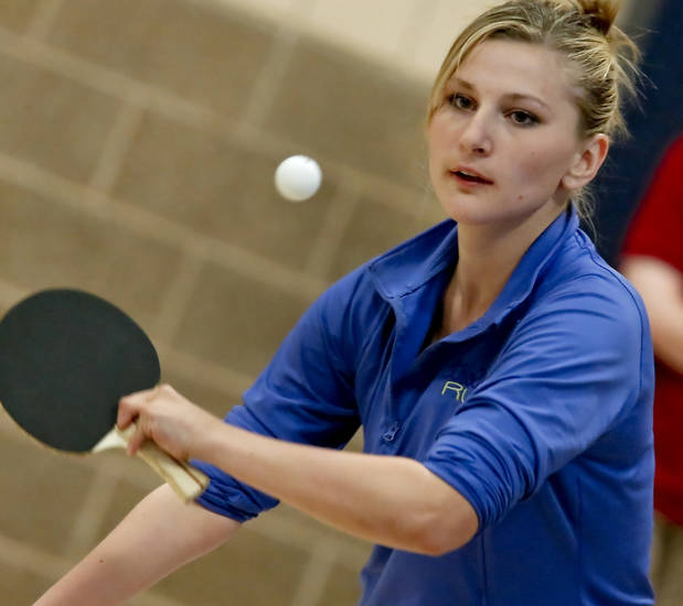 Tatsiana Khvitskl returns a serve while playing table tennis during the Endeavor Games at the University of Central Oklahoma on Friday, June 7, 2013 in Edmond, Okla.  Photo by Chris Landsberger, The Oklahoman