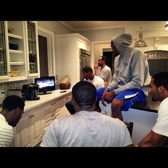 Thunder players watch Game 7 between the Lakers and Nuggets