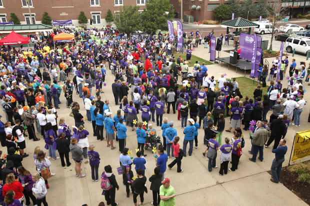 Walkers get ready to start the 2012 Oklahoma City Walk to End Alzheimer's at Bricktown Ballpark in Oklahoma City, OK, Saturday, September 15, 2012,  By Paul Hellstern, The Oklahoman