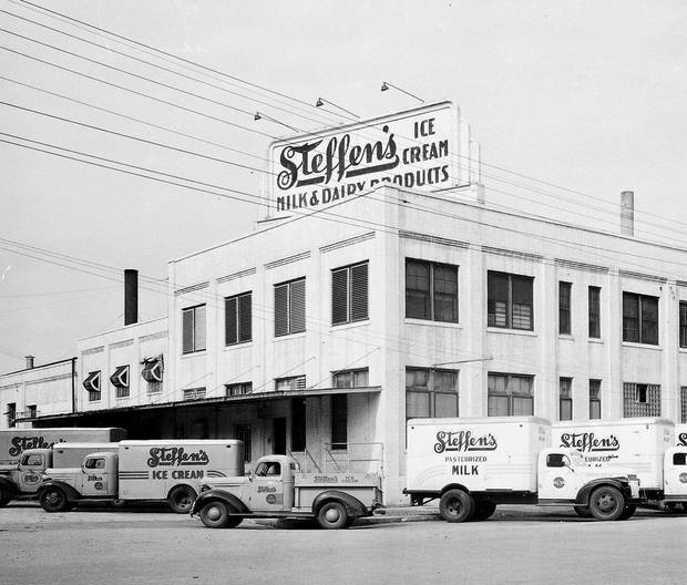 Steffen's Ice Cream at 101 E Main, as shown in this 1946 photo. The dairy operated at the site for several decades. Developers are wanting to demolish the structure and replace it with a Holiday Inn Express. Photo provided <strong>PROVIDED</strong>