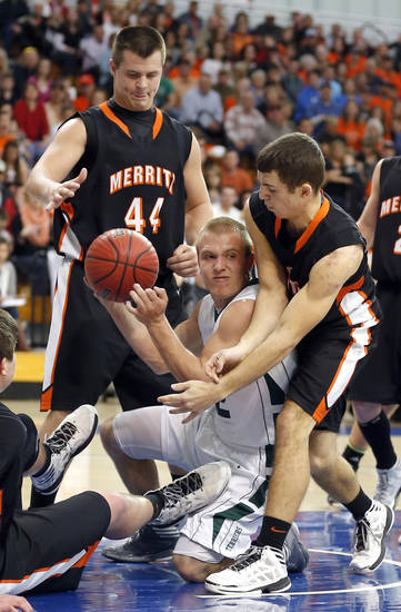 Thomas' Tyler Mannering gets a loose ball from Merritt's Pierson Waugh and Devin Fite during the high school basketball state finals tournament game between Thomas and Merritt at Oklahoma City University in Oklahoma City, Thursday,  March 7, 2013. Photo by Sarah Phipps, The Oklahoman