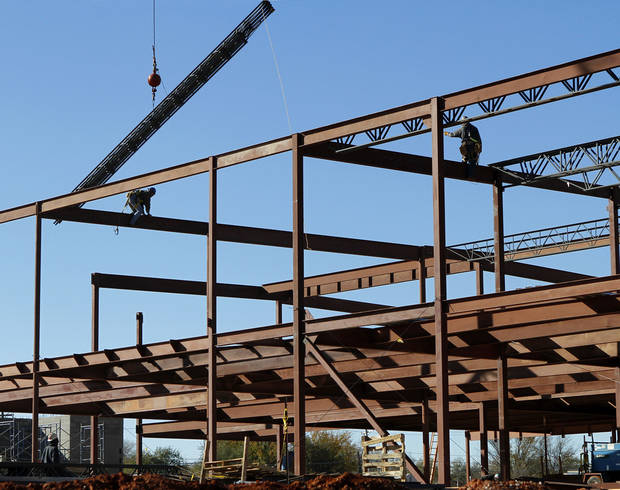The framework is taking shape at East Side Elementary School, one of four elementary schools in the Midwest City-Del City Public Schools system undergoing major expansion or renovation.