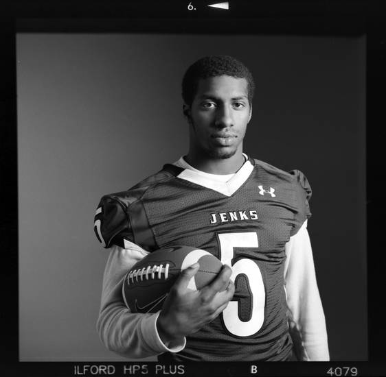 All-State high school football player Trey&#039;vonne Barre of Jenks poses for a photo in Oklahoma City, Monday, Dec. 17, 2012. Photo by Nate Billings, The Oklahoman