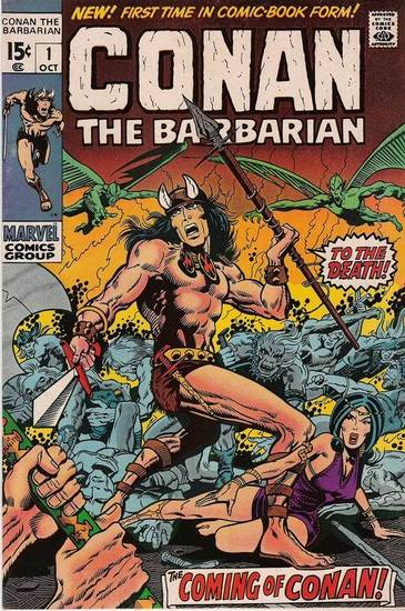 """Conan the Barbarian"" No. 1, written by Roy Thomas, from Marvel Comics"
