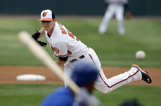 Baltimore Orioles starting pitcher Zach Britton throws during the first inning of an exhibition spring training baseball game against the Toronto Blue Jays, Wednesday, March 20, 2013 in Sarasota, Fla. (AP Photo/Carlos Osorio)
