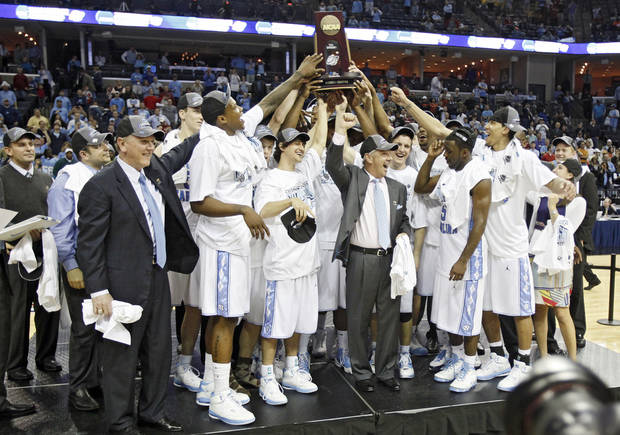 North Carolina celebrates the 72-60 win over Oklahoma in the Elite Eight game of NCAA Men's Basketball Regional between the University of North Carolina and the University of Oklahoma at the FedEx Forum on Sunday, March 29, 2009, in Memphis, Tenn.