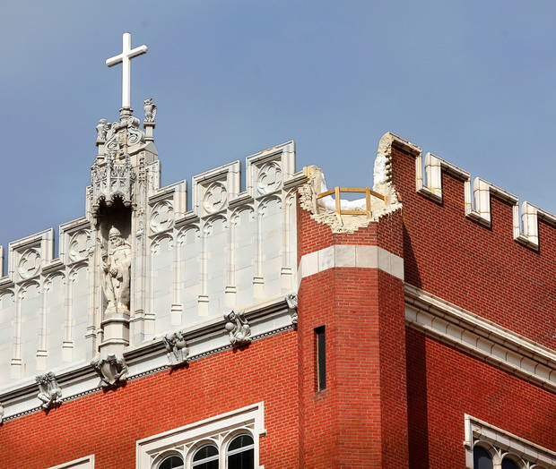 Benedictine Hall, the main academic and administrative building at St. Gregory's University, was badly damaged as a result of the 5.6 magnitude quake that struck Oklahoma in November 2011. File photo by Jim Beckel, The Oklahoman <strong>JIM BECKEL</strong>