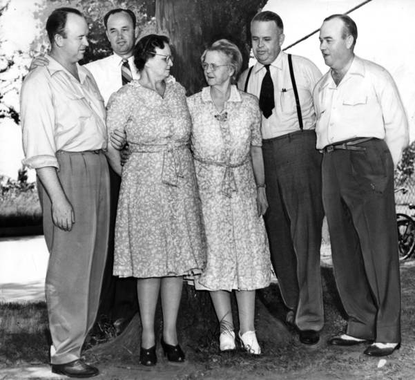 "ROBERT S KERR / CANDIDATE FOR GOVERNOR / OKLAHOMA:  ""Mrs. Margaret Wright Kerr, mother of Oklahoma's Democratic nominee for governor, is shown with five of her six children.  Left to right, they are:  Aubrey M. Kerr, Ada attorney; Billy B. Kerr, city attorney; Mrs. C.C. Wimberley, 4601 North Portland avenue; Mrs. Kerr; Robert S. Kerr, the nominee, and Travis M. Kerr, Oklahoma City oil man.""    Staff photo taken 7/19/1942; photo ran in the 7/23/1942 Daily Oklahoman."