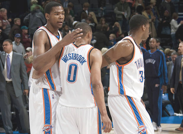 The Thunder's Kevin Durant, left, Russell Westbrook and Desmond Mason, right, might be getting a new teammate, center Nenad Krstic. PHOTO BY SARAH PHIPPS, THE OKLAHOMAN