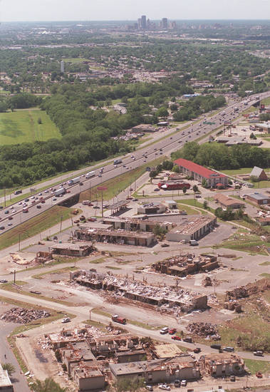 Tornado damage, aerial view: Hotels at Sooner Rd. and I-40 looking West.