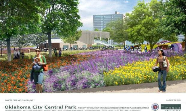 The MAPS 3 urban park, shown here in a rendering, could be operated with Myriad Gardens by a new nonprofit foundation, a recent local study suggests. <strong>pfrankel - Provided</strong>