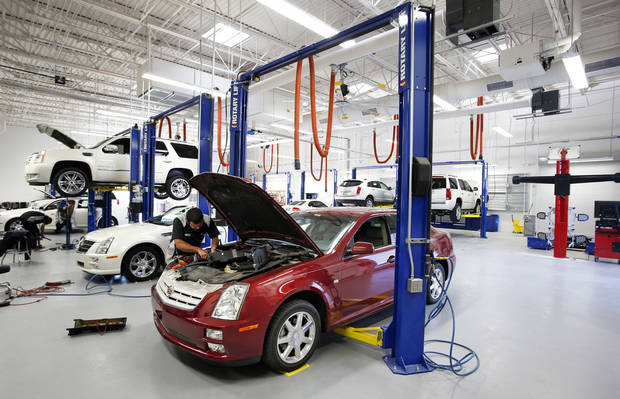 The ultra-modern service bay at the new Bob Moore Cadillac of Norman, on Interstate 35 at Indian Hills Road. Photos by STEVE SISNEY, The Oklahoman